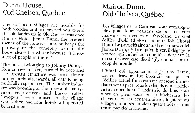 Dunn House / Hotel in Chelsea, Quebec, Text