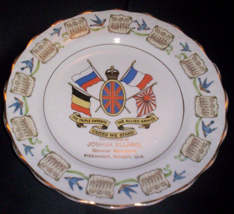Plate from Joshua Ellard, WW1
