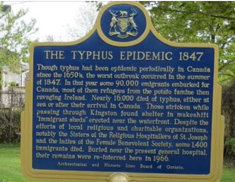 Plaque at Kingston, Ontario, Canada, commemorating the Typhus victims of the great Irish famine in 1847