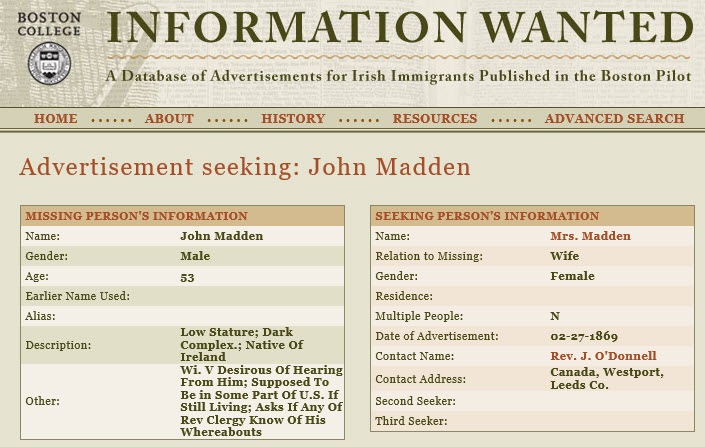 Search newspaper Boston Pilot for missing Irish persons