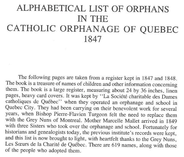 Irish famine orphans at Quebec City in 1848 and 1848