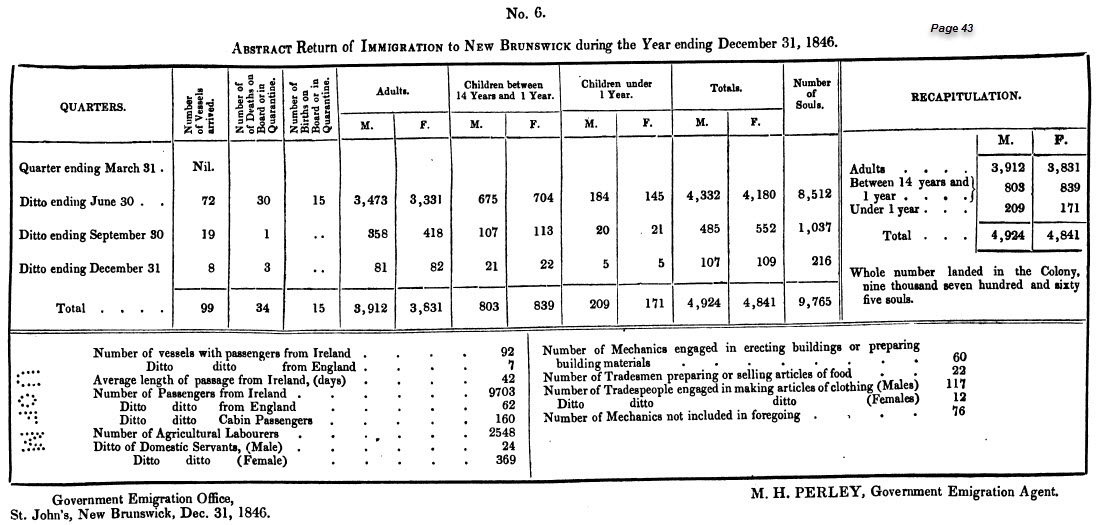 Return of Immigration to New Brunswick during the year ending December 31, 1846