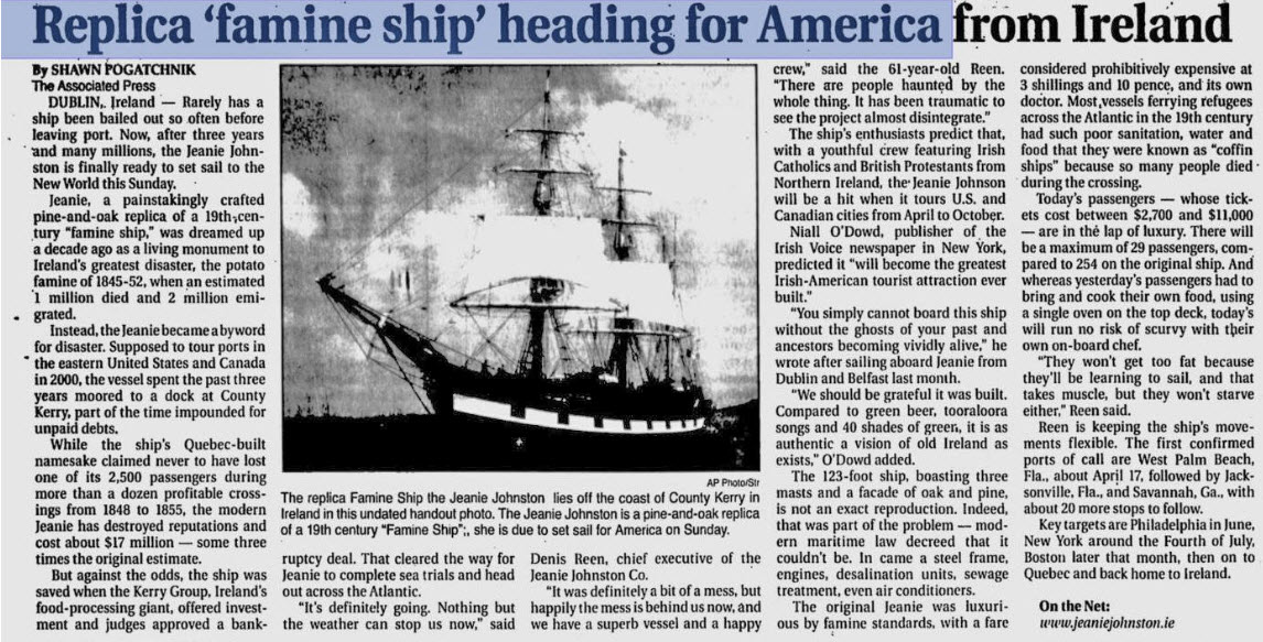 The Coffin Ship Jeanie Johnson, Ireland to North America