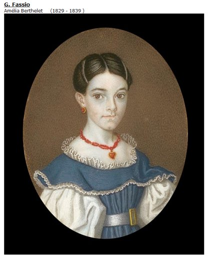 Painting of Amelia Berthelet by Signor G. Fassio, c. 1835