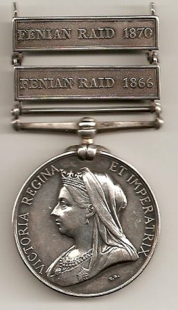 Fenian Medal awarded to Jeremiah Kyle of Fitzroy Township, Ontario, Canada, Obverse Side