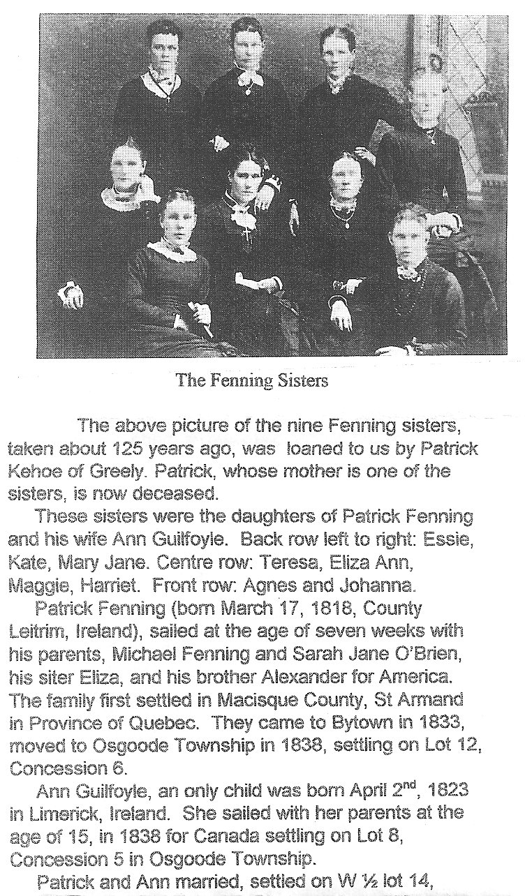 Fenning Sisters, Osgoode Township
