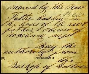 John Fermoyle's Diary - Marriage Exerpt