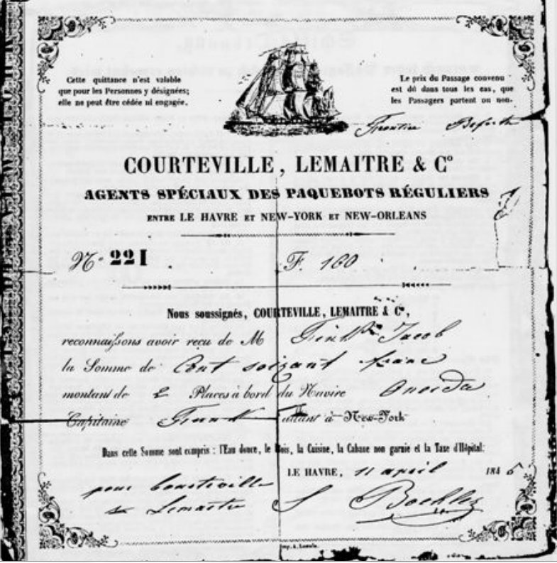 Passenger Ticket for the ship Oneida, 1845