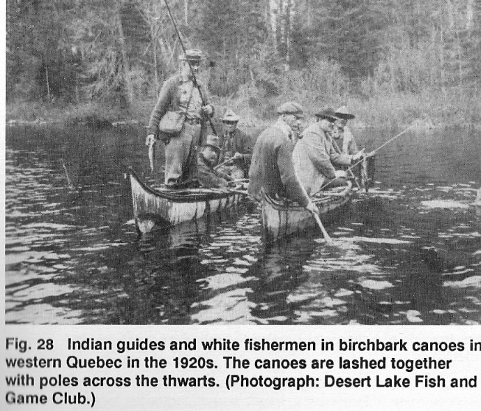 Fishing from canoes near Maniwaki, 1920's