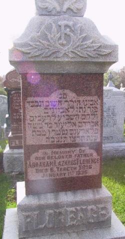 grave marker for Abraham Lazarus Florence