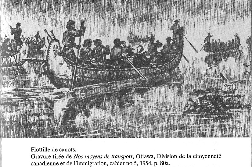 A Flotilla Birch Bark Canoes used in the Fur Trade