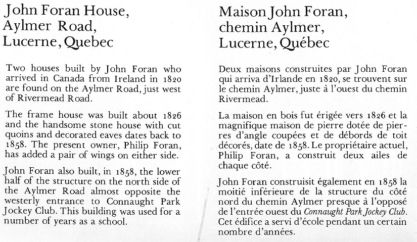 Picture of the John Foran House, Aylmer, Quebec, text