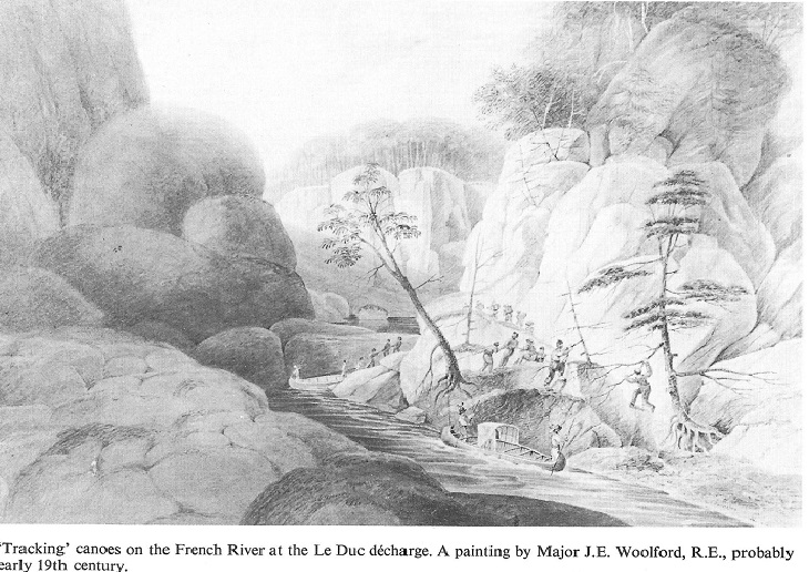 The Leduc Portage on the French River, Ontario, Canada. Source Ottawa Waterway, Gateway to a Continent by Robrt Leggett, page 55