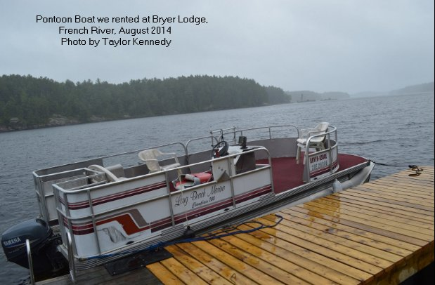 Pontoon boat on the French River, Ontario, Canada
