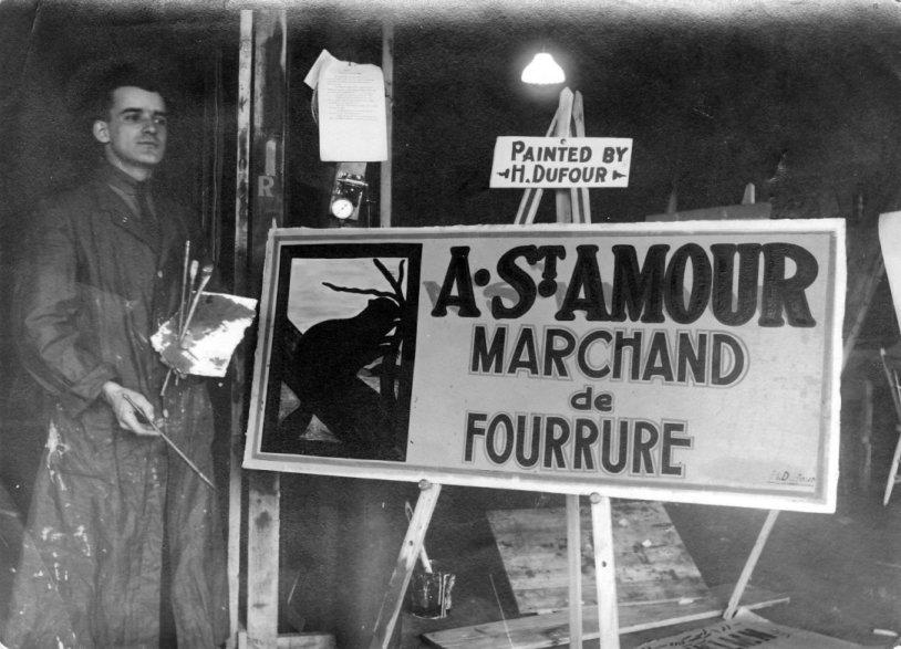 Andre St. Amour. Fur Dealer Sign in French, by Henri Dufour