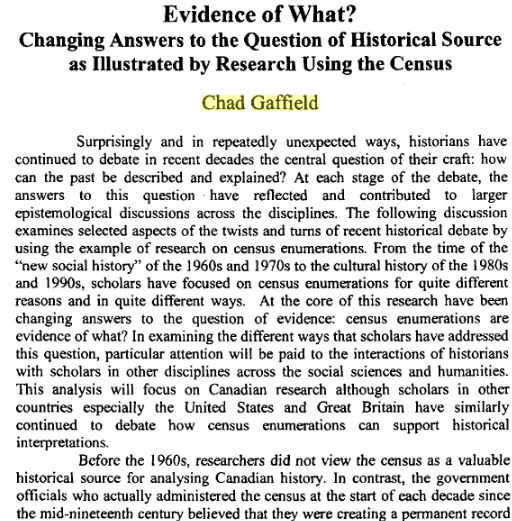 Article by Chad Gaffield - Evidence of What? Changing Answers to the Question of Historical Source as Illustrated by Research Using the Census