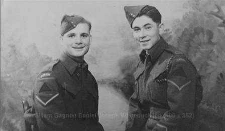 William Joseph Gagnon and Joseph Whiteduck in the Canadian Forestry Corps in WW2