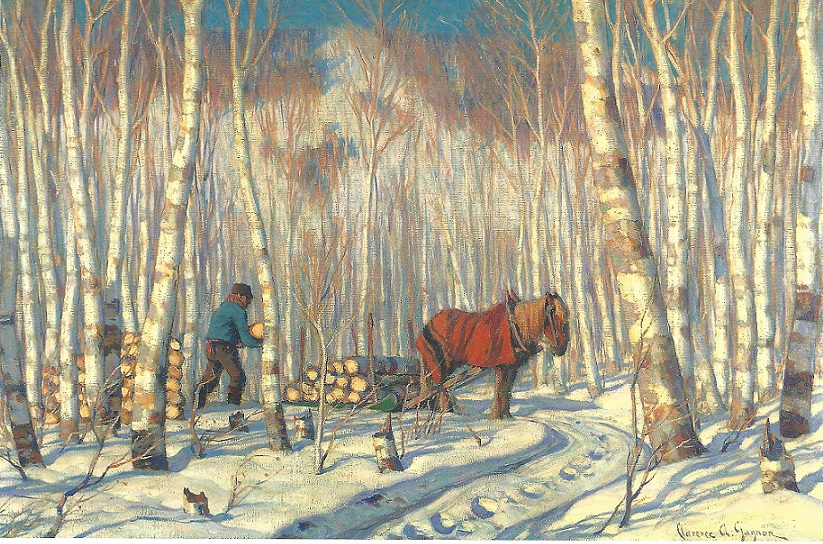 Cutting wood in the Birch Woods, 1920