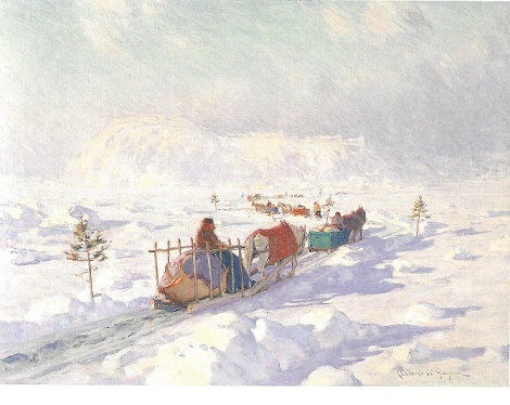 Clarence Gagnon painting, The Ice Bridge