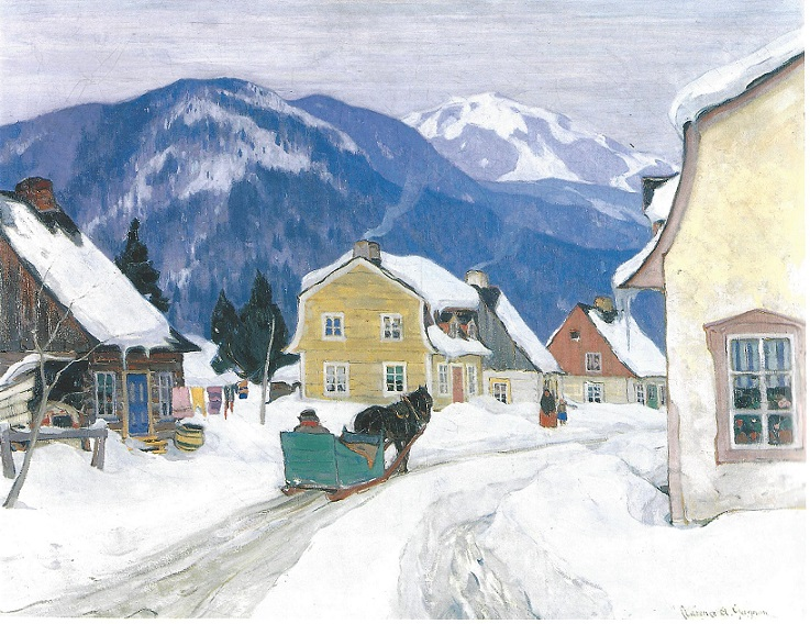 Quebec Winter Scene by the artist Clarence Gagnon