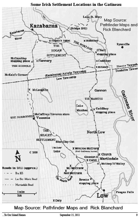 Map of settlement in the Gatineau Valley
