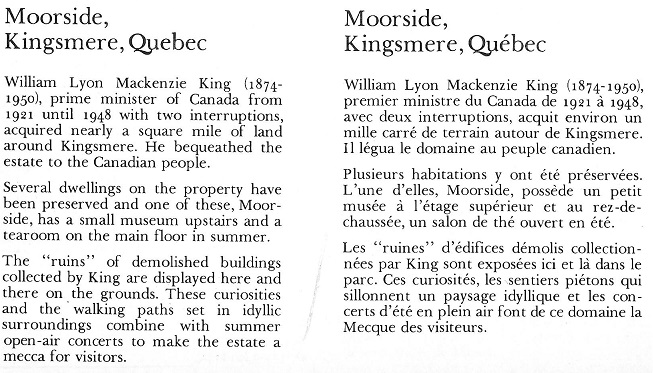 Kingsmere and Moorside House text