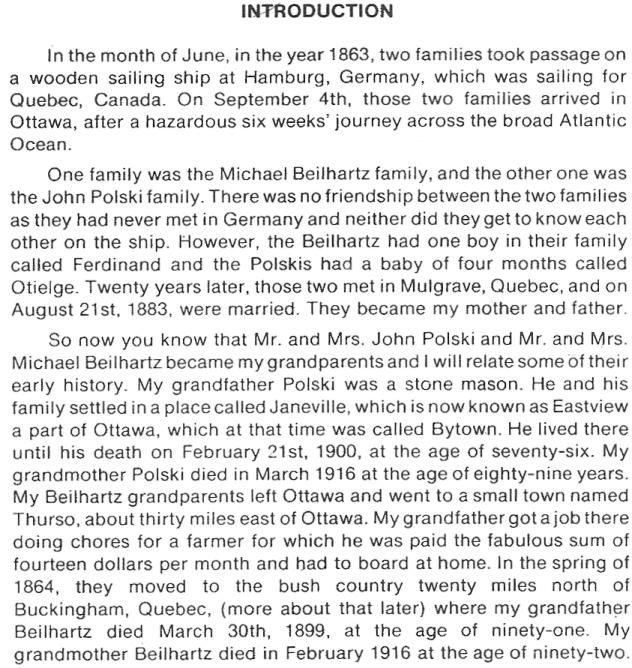 German Migration from Hamburg, Germany to Ottawa, Canada to Northern Ontario