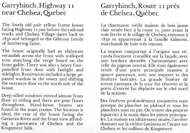 Ballyhinch, Gilmour House near Chelsea, Quebec Text