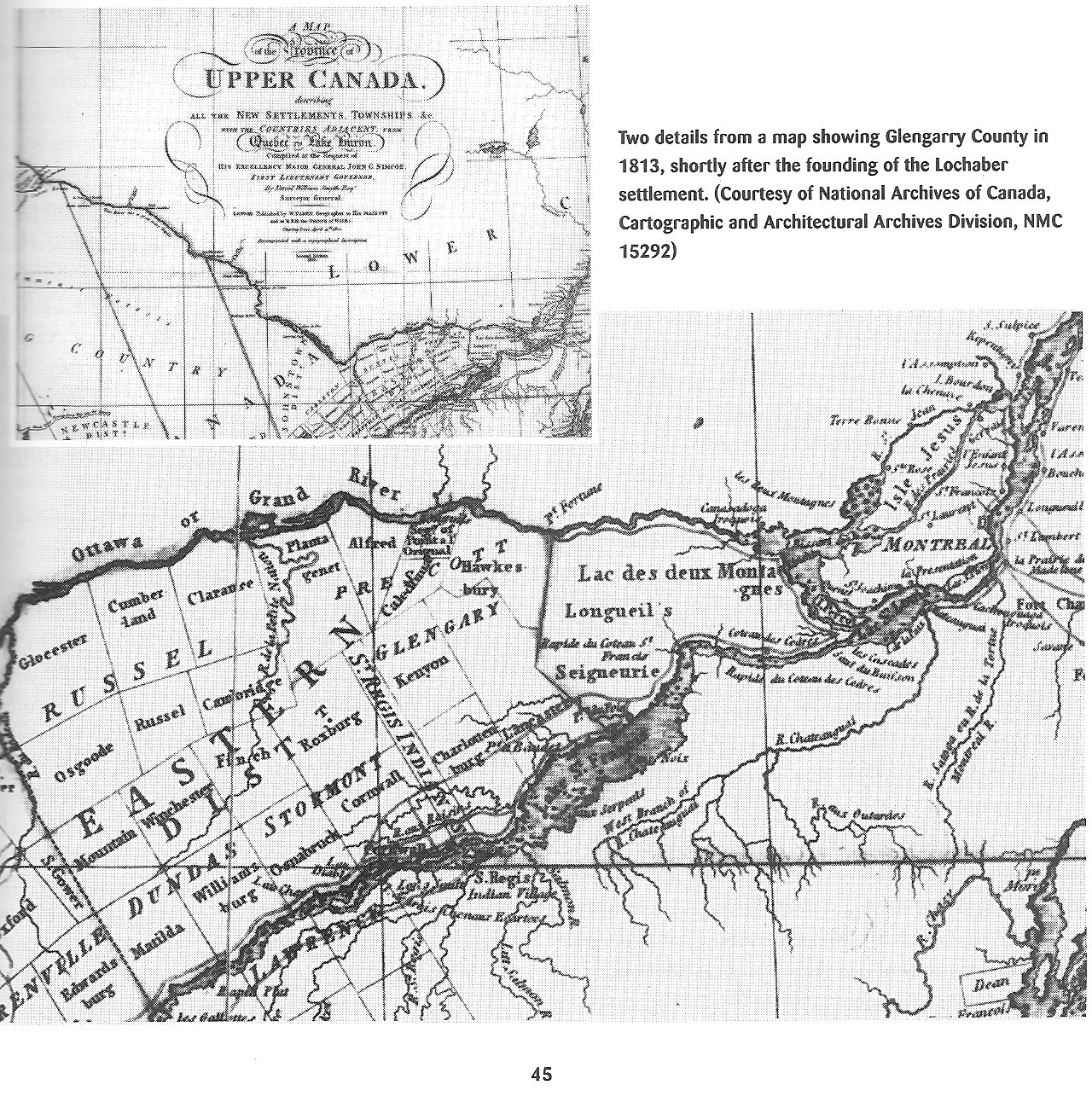 Glengarry County Map, Ontario, Canada, in 1813