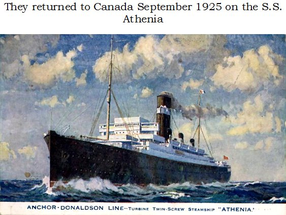 S.S. Letitia and S.S. Athenia, Scotland to Canada in 1925