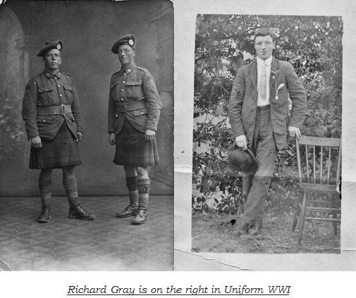 Richard Gray, wearing kilt in WWI