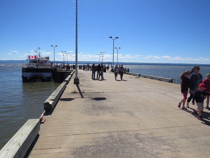 Long Dock at Grosse Isle, Quebec with a crowd
