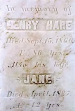 Henry Hare, Grave Marker in Goulbourn Township, Ontario, Canada