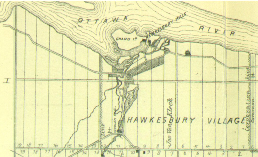 Map showing Hawkesbury Village in 1881, Ontario, Canada
