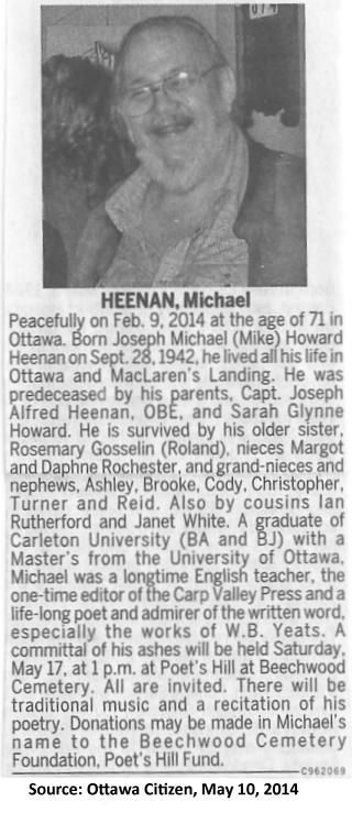 Obituary for Michael Heenan, Ottawa Poet, May 10, 2014