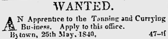 Help Wanted Ad, Bytown, 1840