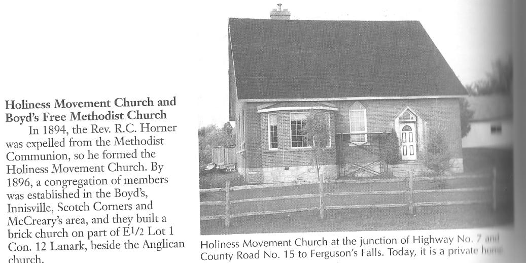 The Holiness Church in Drummond Township, Ontario, Canada