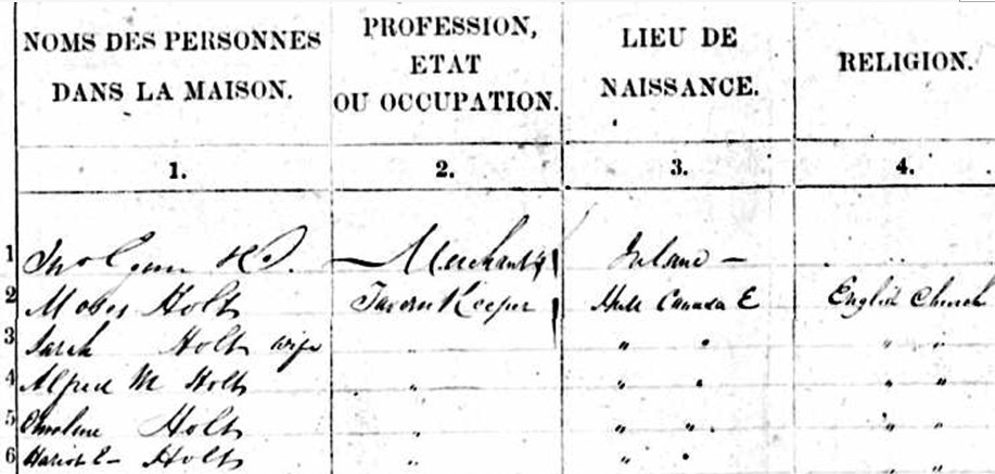 Moses Holt, Aylmer / Hull, Quebec, 1851 census