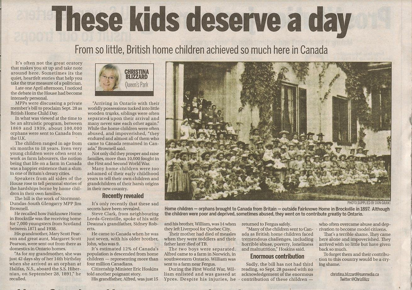 Article in the Toronto Sun by Christina Blizzard - Home Children