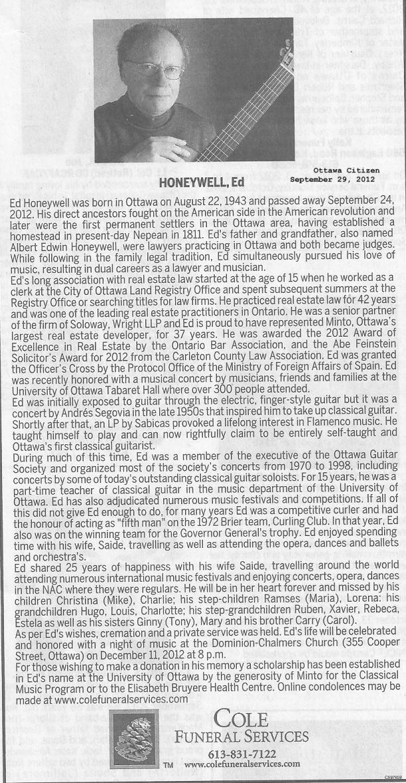Ed Honeywell Obituary, Ottawa, Ontario, Canada