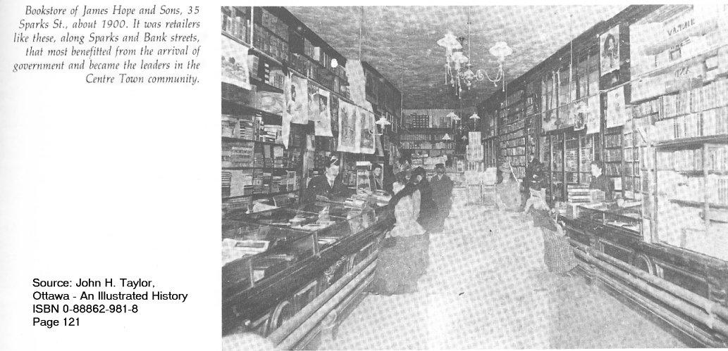 James Hope Bookstore, Interior, Sparks Street, Ottawa, Ontario, Canada, c. 1900