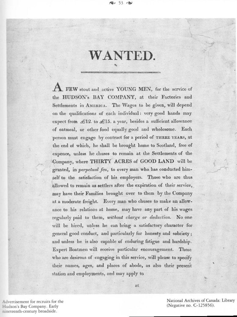 Hudson's Bay Company Recruitment Advertisement, early 1800's