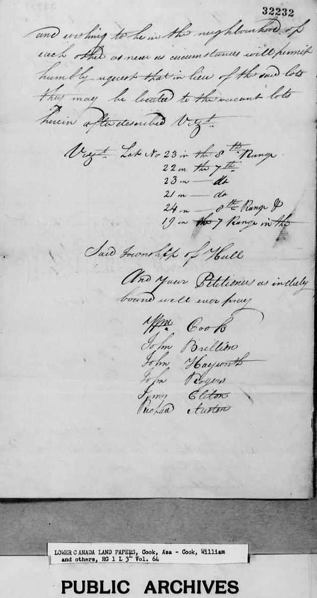 Hull, Quebec, Canada, Land Petition, 1819