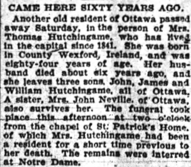 Obituary of Mrs. Thomas Hutchingame, Ottawa Journal, April 22, 1901