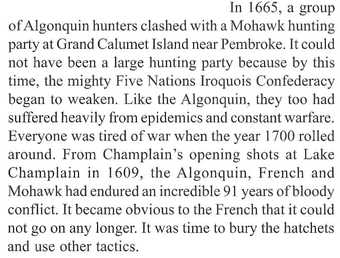 Algonquin, Mohawks and French at Calumet Island (Ottawa River) in 1665