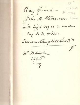 Book Inscription - The Poems of Duncan Scott Campbell, 1926