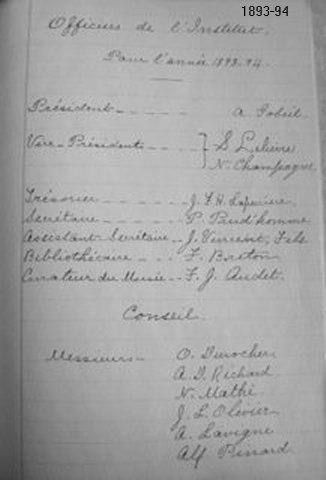 Institut Canadien Français d'Ottawa, Officiers 1893-94