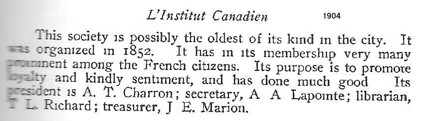 Institut Canadien Français d'Ottawa, Officiers 1904