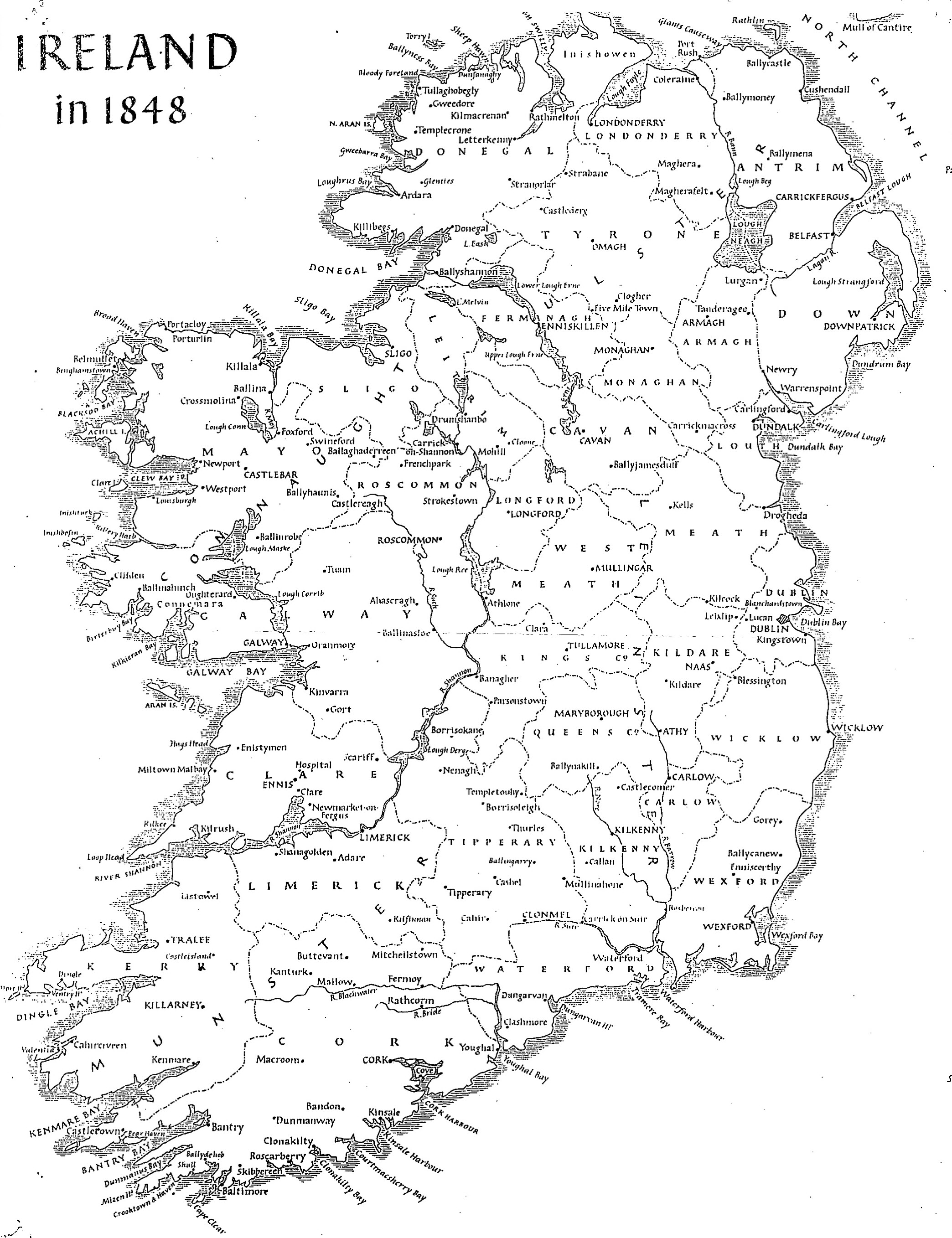 Map of Ireland in 1848