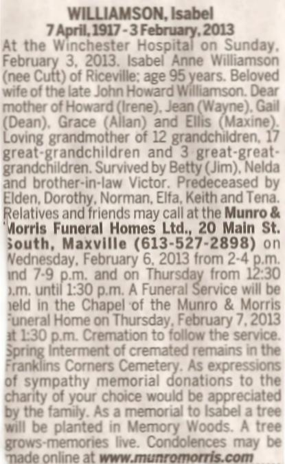 Obituary for Isabel Williamson, Riceville, Ontario, Canada